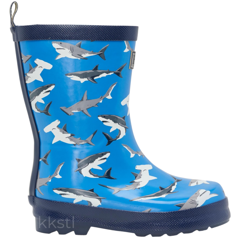 Hatley Hatley Rain Boot Deep Sea Sharks Blue