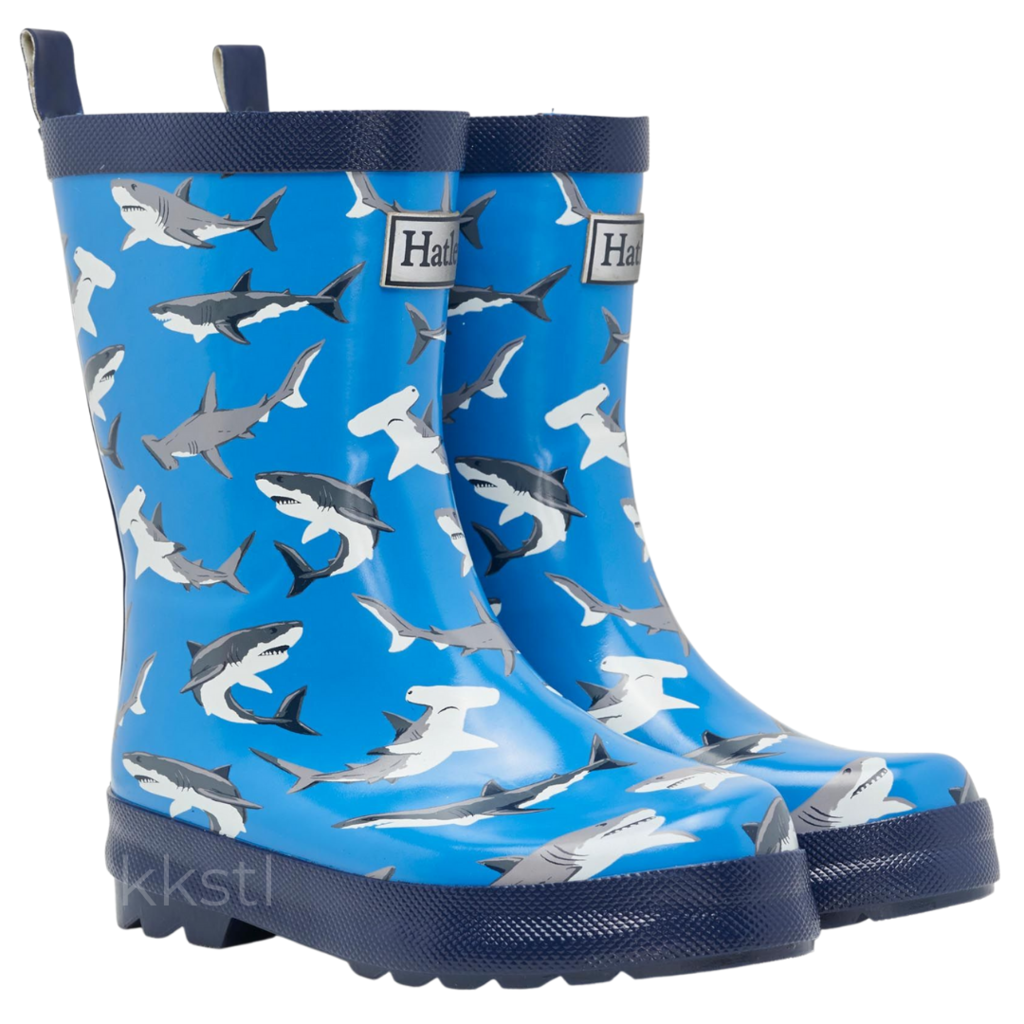 Hatley Hatley Rain Boot Deep Sea Sharks Blue