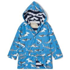 Hatley Hatley Colour Changing Raincoat Deep Sea Sharks Blue