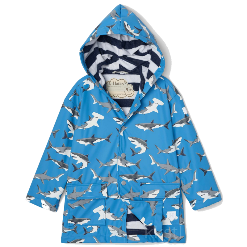 Hatley Hatley Colour Changing Raincoat Deep Sea Sharks Blue