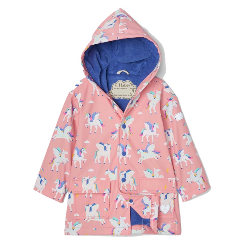 Hatley Hatley Colour Changing Raincoat Magical Pegasus Pink