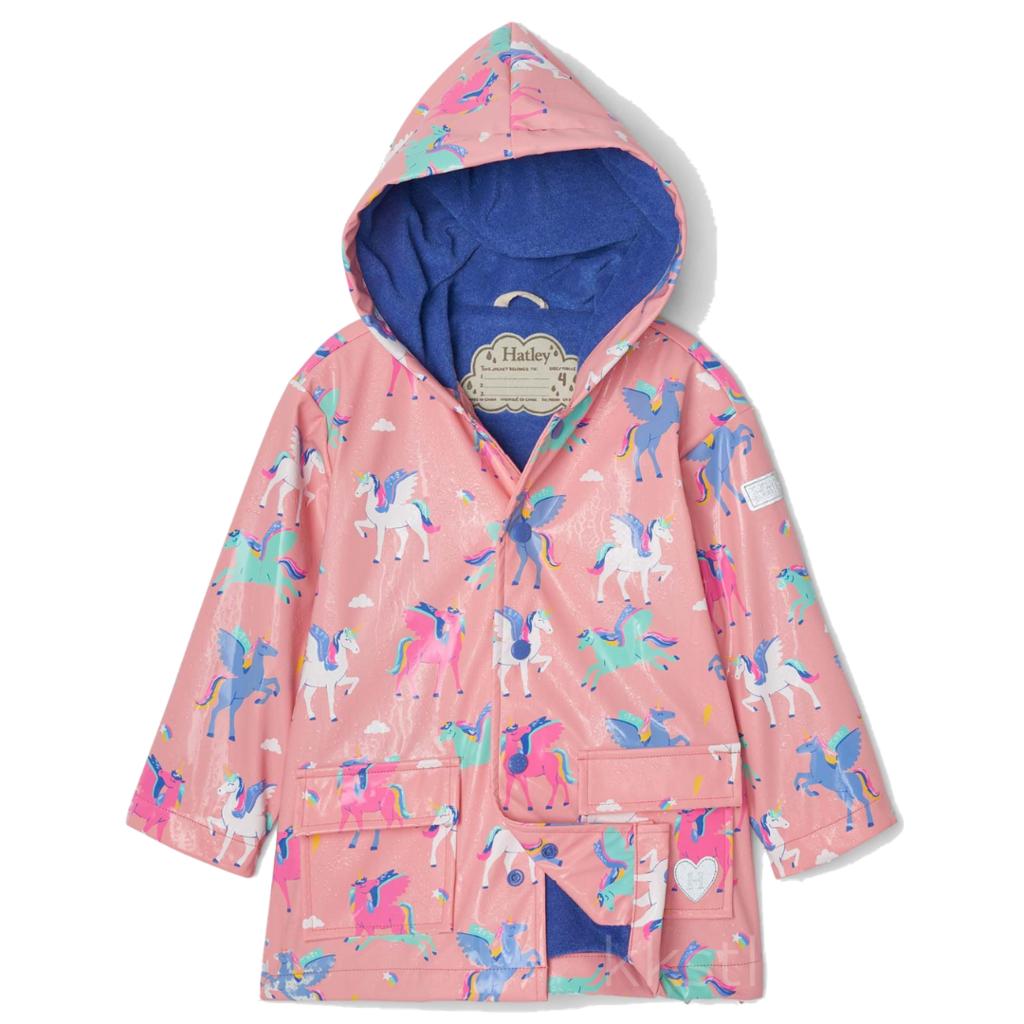 Hatley Hatley Colour Changing Raincoat Magical Pegasus Pink