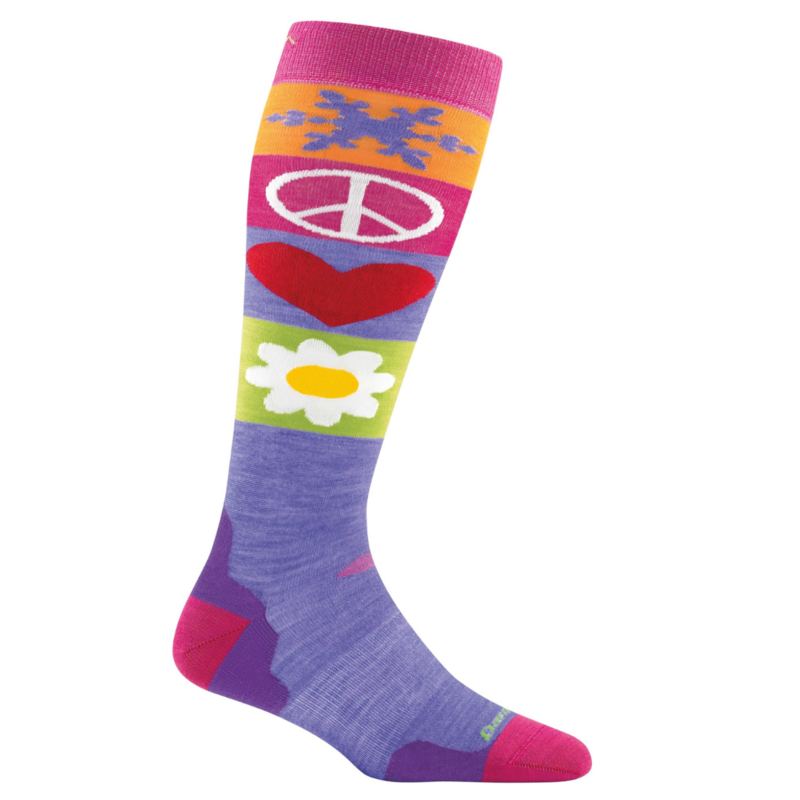 Darn Tough Darn Tough PEACE LOVE SNOW JR Sock Majesty (Shoe 12 - 2.5)