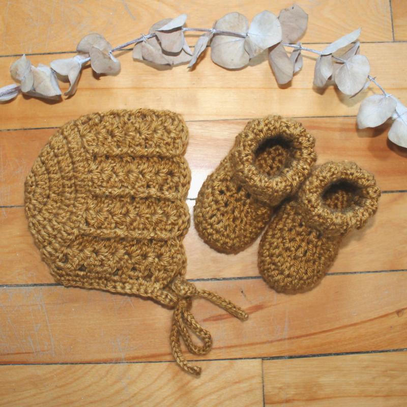 Juno Crochet Juno Bonnet + Booties Mustard
