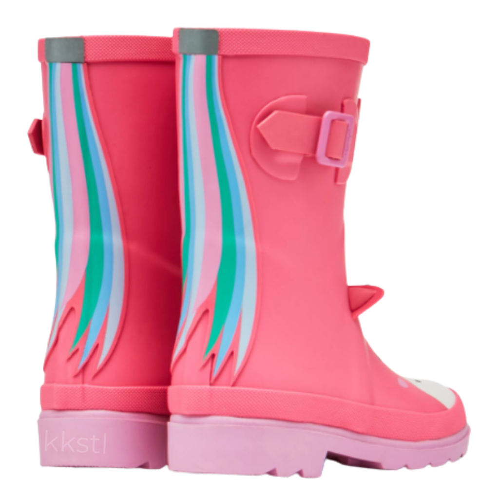 Joules Joules Tall Printed Welly Pink Unicorn