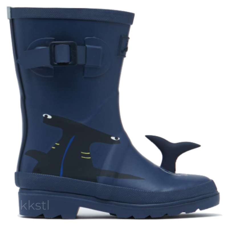 Joules Joules Tall Printed Welly Blue Navy Shark