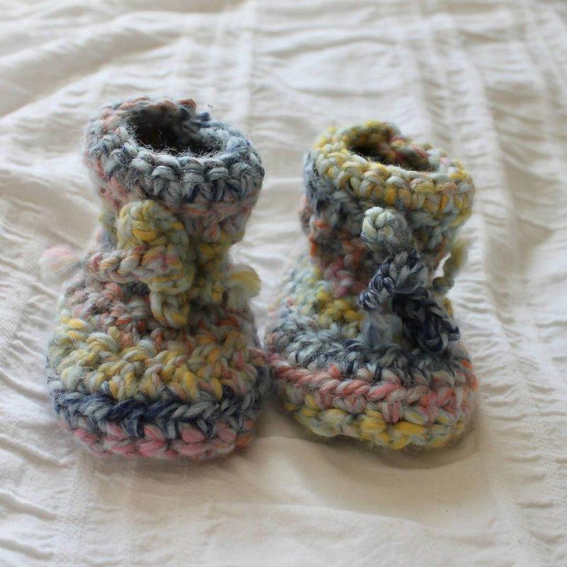 Juno Crochet Juno Sheepskin Slippers Pastel Rainbow