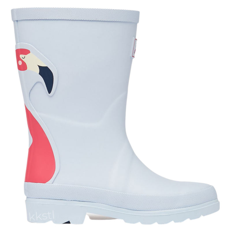 Joules Joules Tall Printed Welly Flamingo Sky Blue