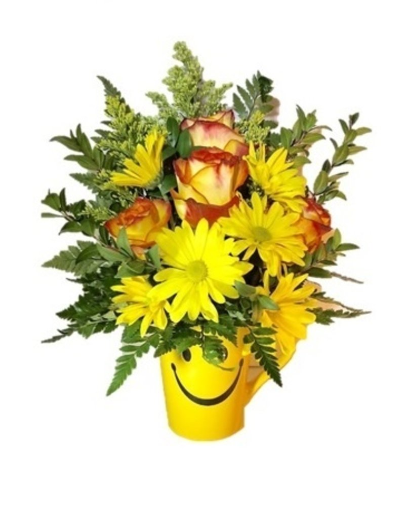 CERAMIC SMILEY MUG FLOWER ARRANGEMENT