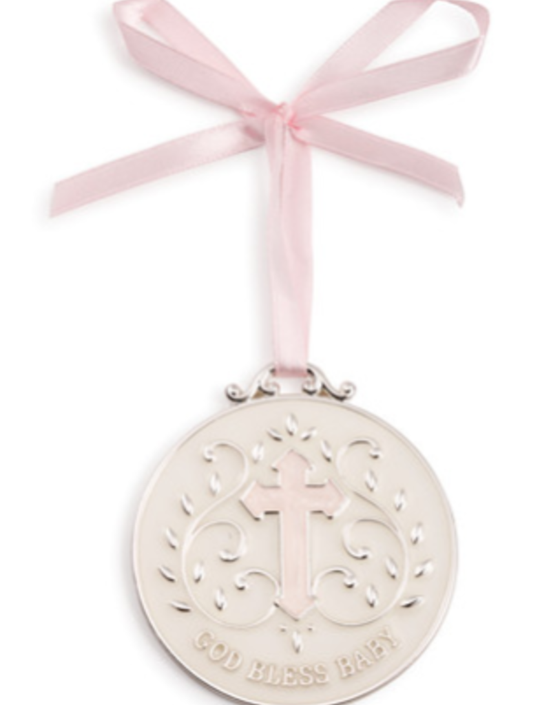 DEMDACO GOD BLESS BABY MEDALLION PINK