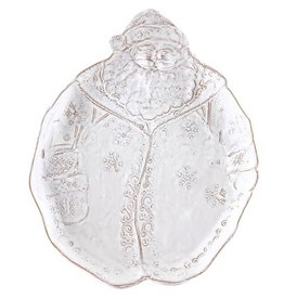 Vietri Bellezza Holiday Santa Salad Plate - White