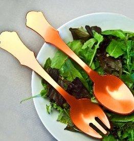 """Sabre Paris Acrylic Salad Serving Set - Orange - 10.25""""L"""