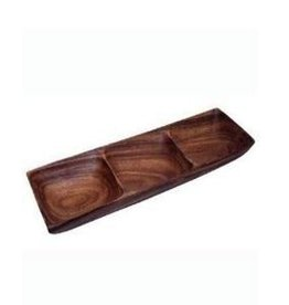 Wooden Carmel 3 Section Serving Bowl