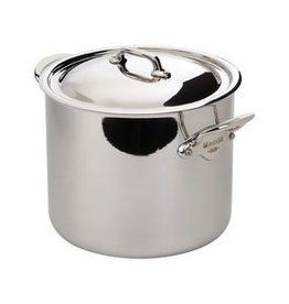 Mauviel 1830 M'Cook Ferretic Steel Stock Pot w/Lid - Cast Stainless Steel Handle - 9.7 QT