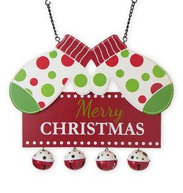 "Merry Christmas w/Mittens and Bells Entrance Hanger - 11""H x 13.5""L x 1""W"