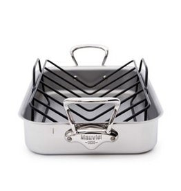 """Mauviel 1830 M'cook Stainless Steel Roasting Pan with Rack - 15.7""""L x 11.8""""W"""
