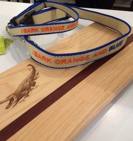 Up Country Collar - I Bark Orange and Blue Embroidered - Small Wide