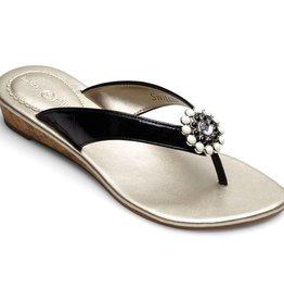 Lindsay Phillips Gwen Low Wedge Sandal - Black - Size 5
