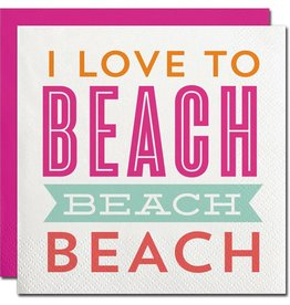 I Love to Beach Beach Beach Beverage Napkin
