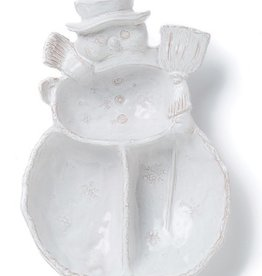Vietri Bellezza Holiday Snowman 3 Part Server - White