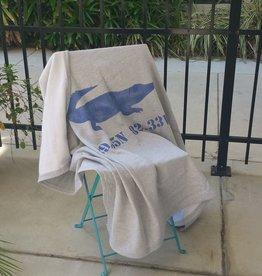 """Blue Gator Sweatshirt Blanket 50""""x60"""" - Gator Image /29.65N 82.33W"""