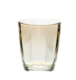 Vietri Optical Double Old Fashioned Glass - amber
