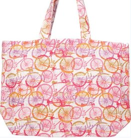 Bicycles Jute Tote - Pink