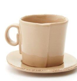 """Vietri Lastra Espresso Cup & Saucer  3""""H - Cappuccino"""