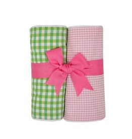 Pink & Green Gingham Fabric Burp Pads - Set of 2