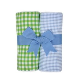 Blue & Green Gingham Fabric Burp Pads - Set of 2