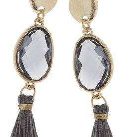 Linked Black Diamond Tassel Earrings - Grey