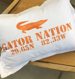 "Large White Pillow 18""x25"" - Gator Nation & Stadium Coordinates - Orange"