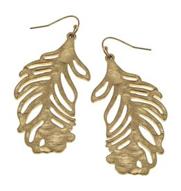 Hammered Palm Leaf Earrings - Gold