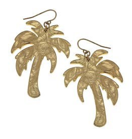 Hammered Palm Tree Earrings - Gold