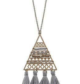 Beaded Triangle Tassel Necklace - Grey