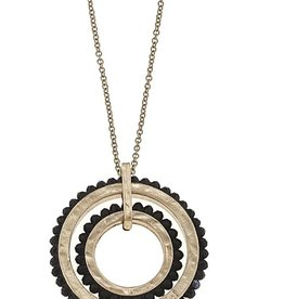 Beaded Glass Dual Circle Necklace - Jet