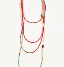 Color Block X-Long Necklace - Red, Pink, and Turquoise - 120""