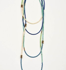 Color Block X-Long Necklace - Shades of Blue - 120""
