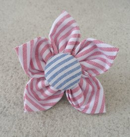 Hot Dog Flower - Red & White Stripe Searsucker - Large