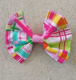 Hot Dog Bowtie - Pink Plaid - Large