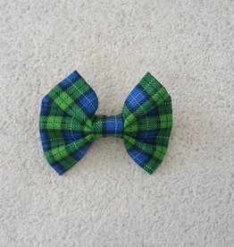 Hot Dog Bowtie - Blue & Green Tartan - Small