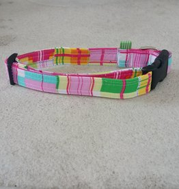 Hot Dog Collar - Pink Plaid - Large