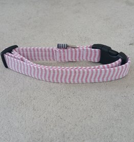 Hot Dog Collar - Red & White Stripe Searsucker - Large