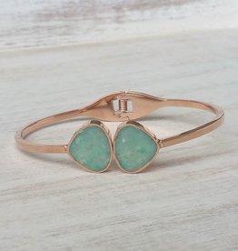 Dune Jewelry Teardrop Bangle - Rose Gold - Amazonite