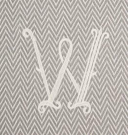 Herringbone Initial Throw Blanket - W