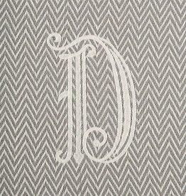 Herringbone Initial Throw Blanket - D