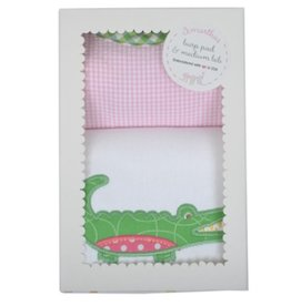 Alligator Burp Pad & Bib Set - Pink