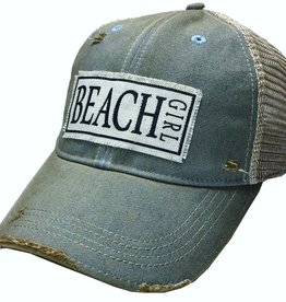 487f8f2fd39 Beach Girl Sky Blue Distressed Trucker Cap