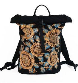 Sackai Rolltop Backpack - Black & Yellow Sunflowers