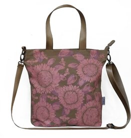 Sackai Cross Body Tote Bag - Khaki Pink Sunflowers